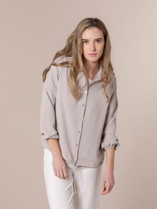 Woman Flowy shirt with drawstring detail Beige
