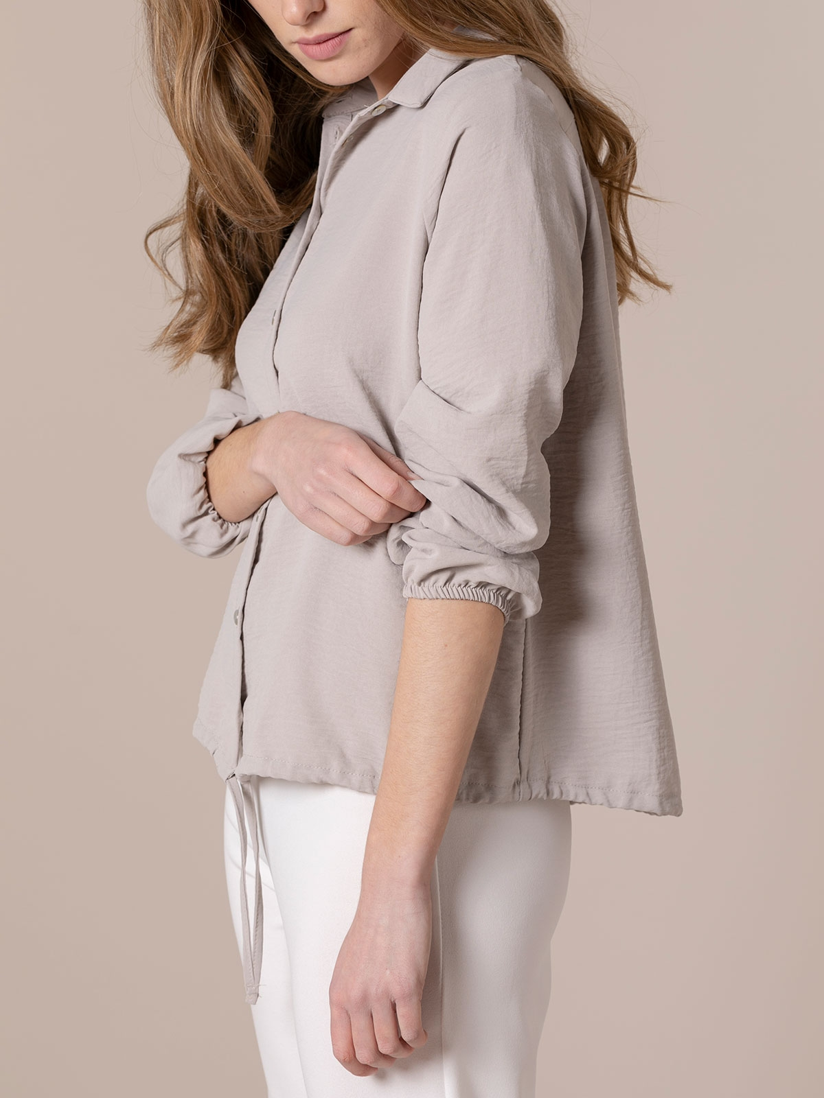 Woman Flowy shirt with drawstring detail Beige
