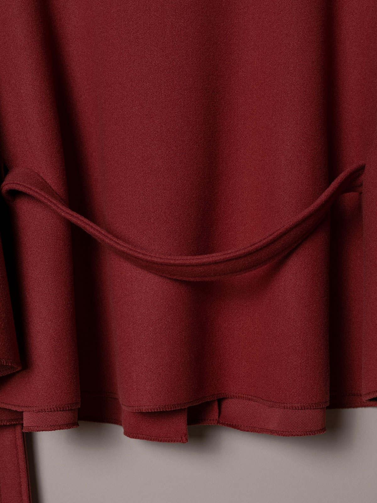 Abrigo mujer capa corta cinturón Rosa fuerte