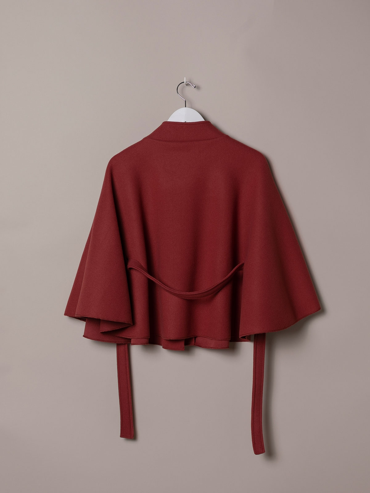 Woman short cape with belt Pink fuerte