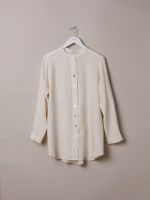 Woman Linen shirt with mandarin collar White