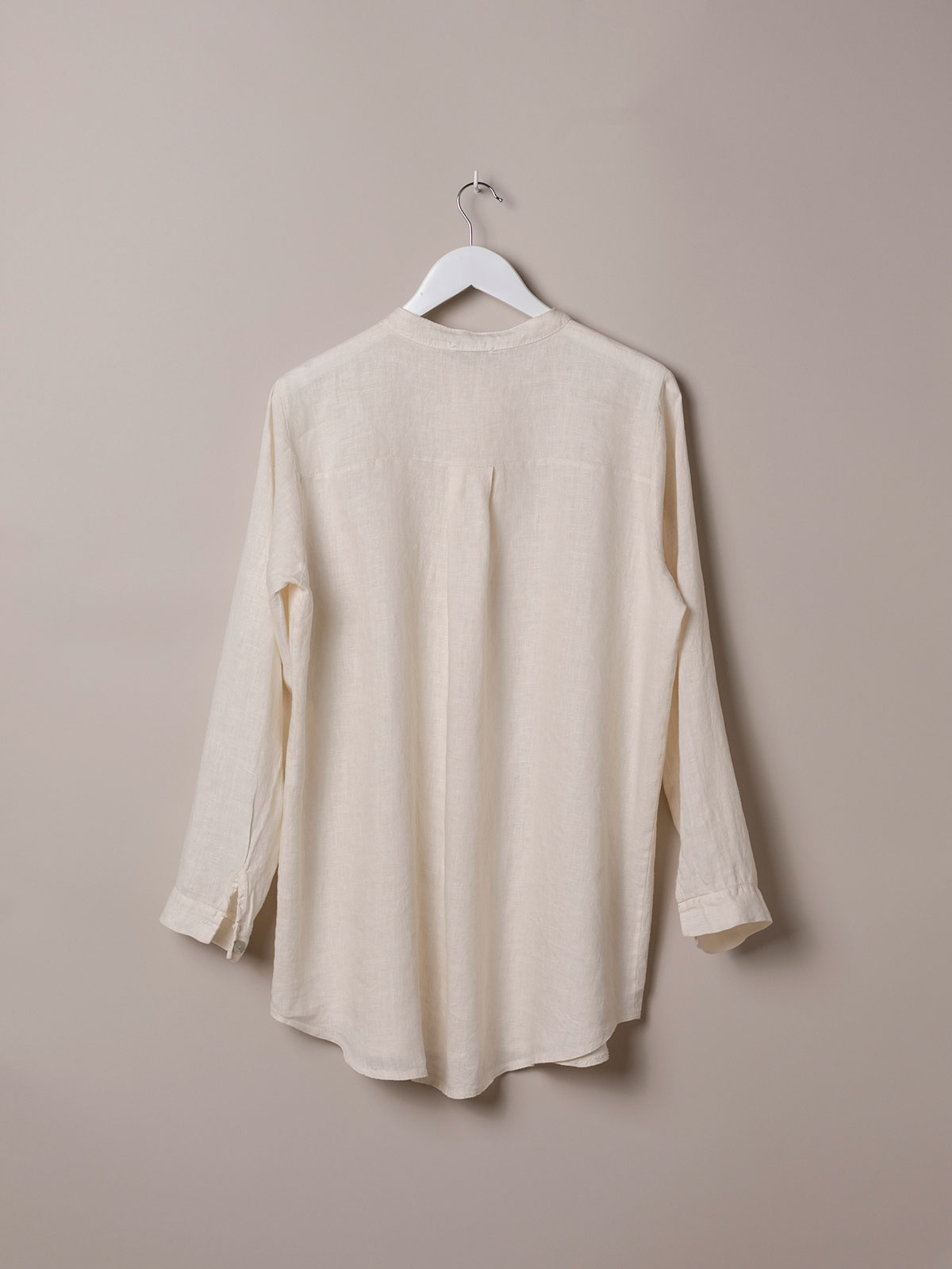 Woman Linen shirt with mandarin collar White