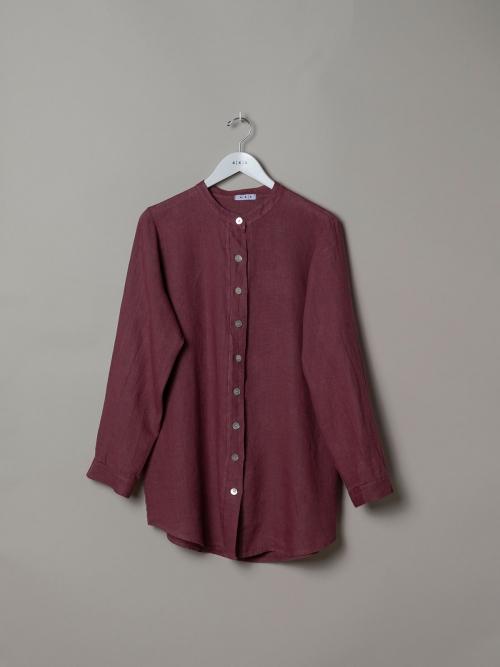 Woman Linen shirt with mandarin collar Mallow