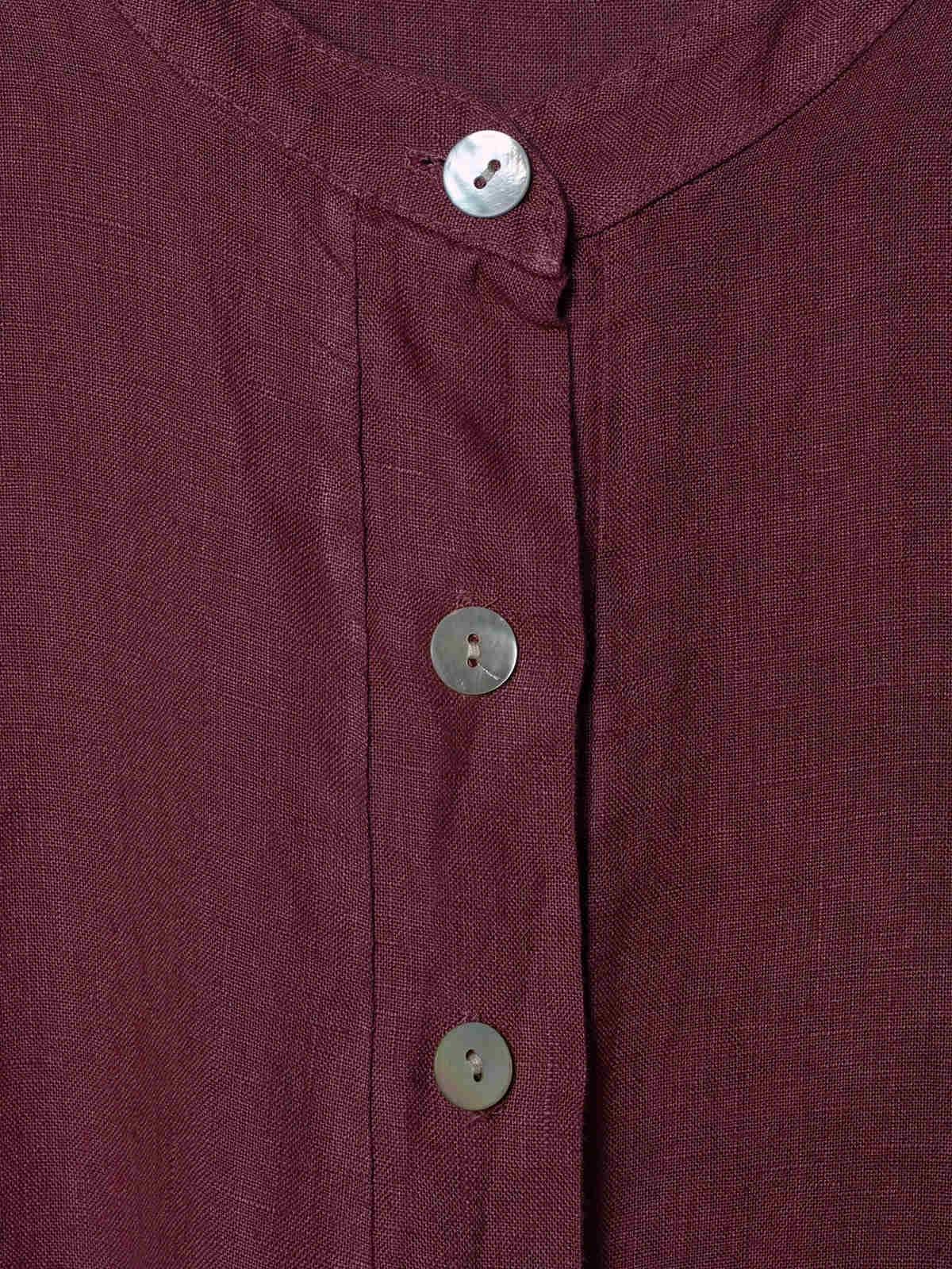 Camisa de lino mujer cuello mao Malva