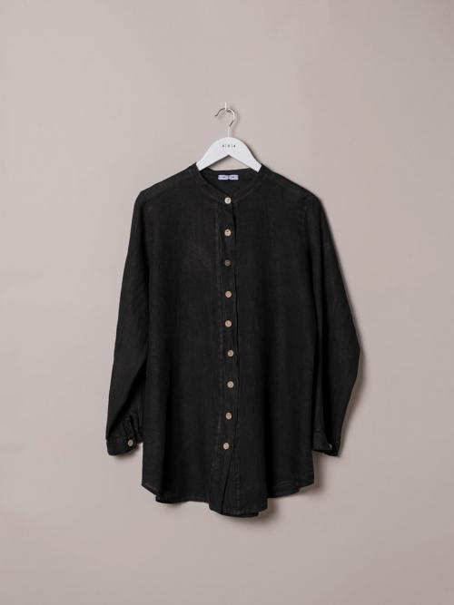 Camisa de lino mujer cuello mao Negro