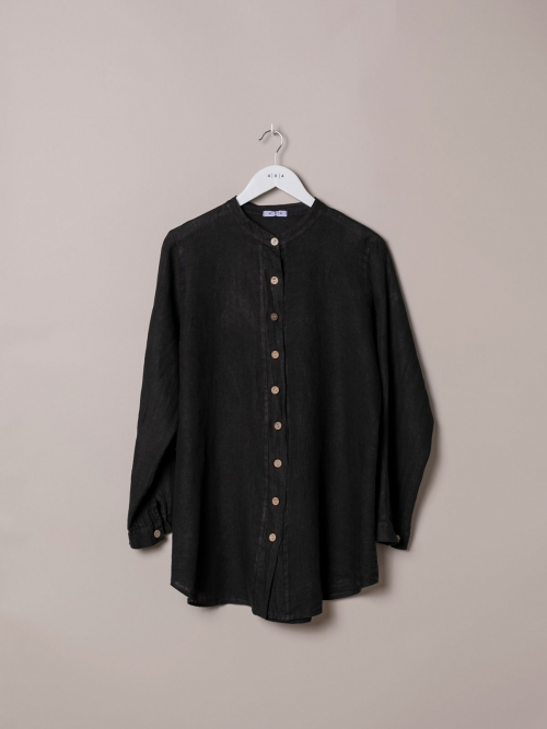 Woman Linen shirt with mandarin collar Black
