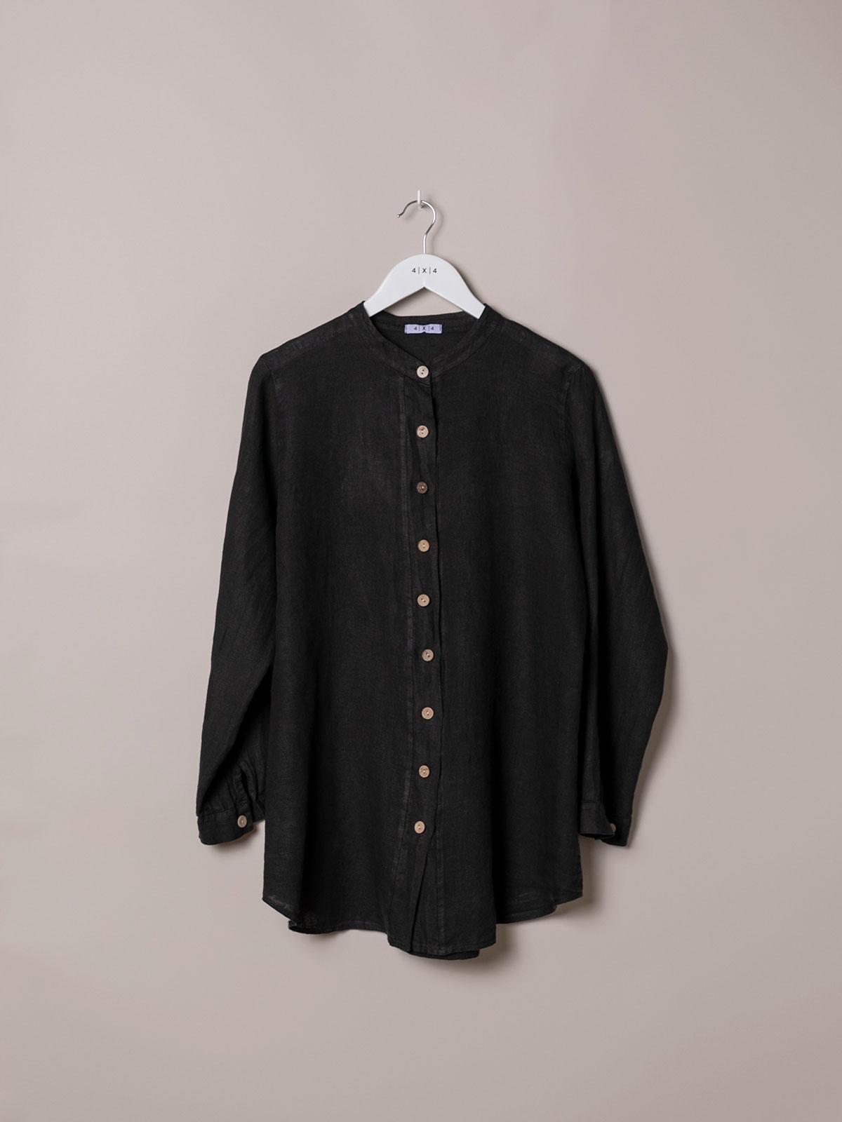 Woman Woman Linen shirt with mandarin collar Black