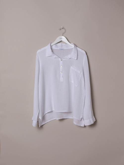 Woman Cotton polo shirt and linen detail White