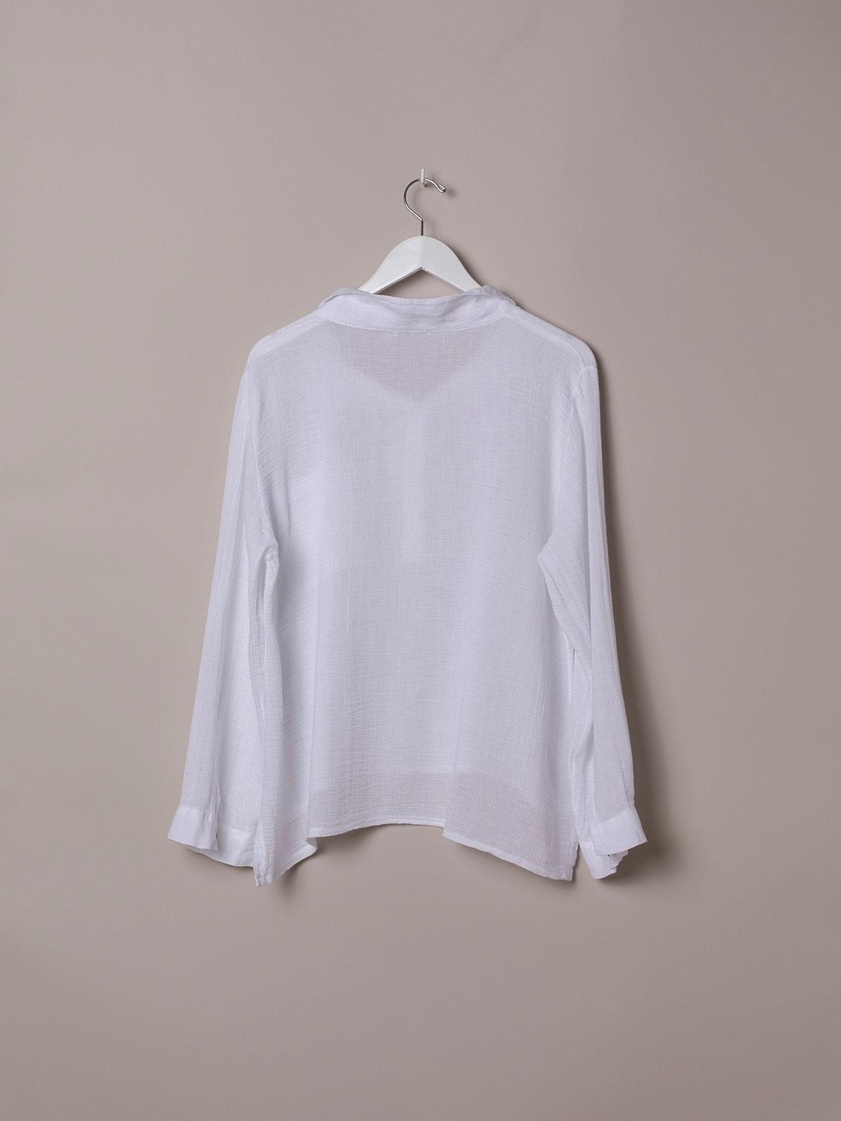 Polo mujer algodón y detalle en lino Blanco