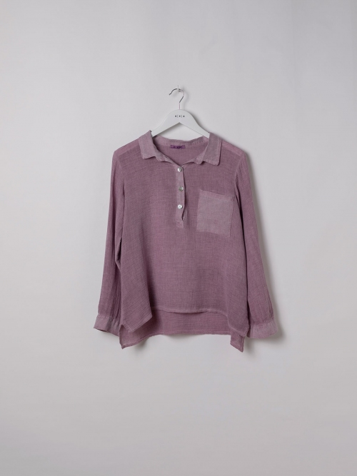 Woman Cotton polo shirt and linen detail Mallow