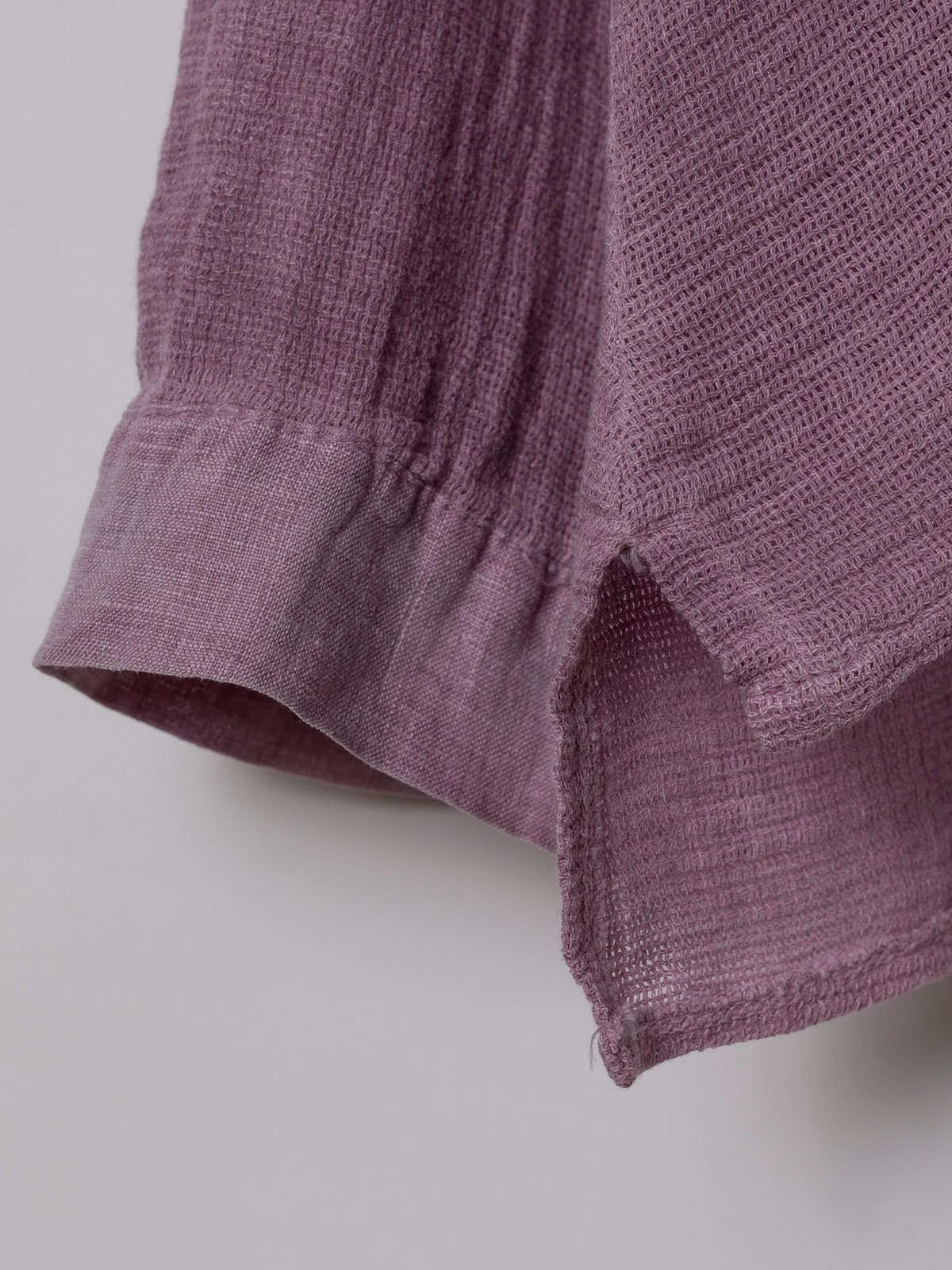 Polo mujer algodón y detalle en lino Malva