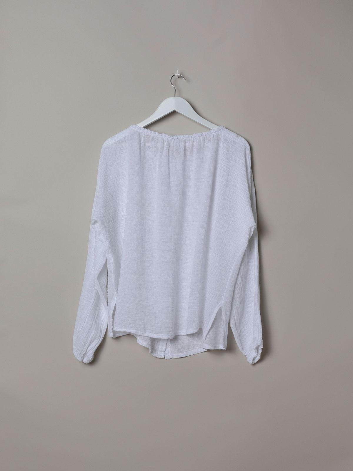 Blusa mujer volante fruncido ecowash Blanco