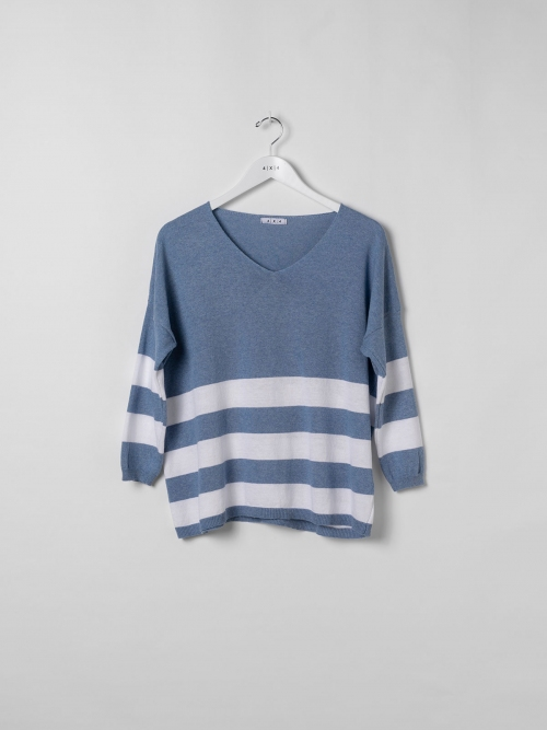Woman Lightweight knit jumper with wide stripe Blue