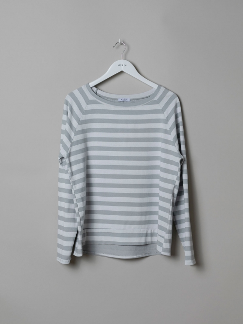 Woman Striped boat neck sweatshirt Grey