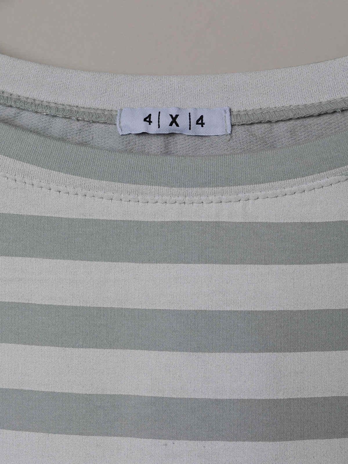 Woman Striped boat neck sweatshirt Grey