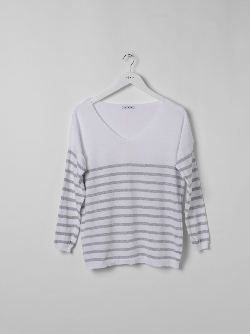 Woman Lightweight knit sweater with striped hem Grey