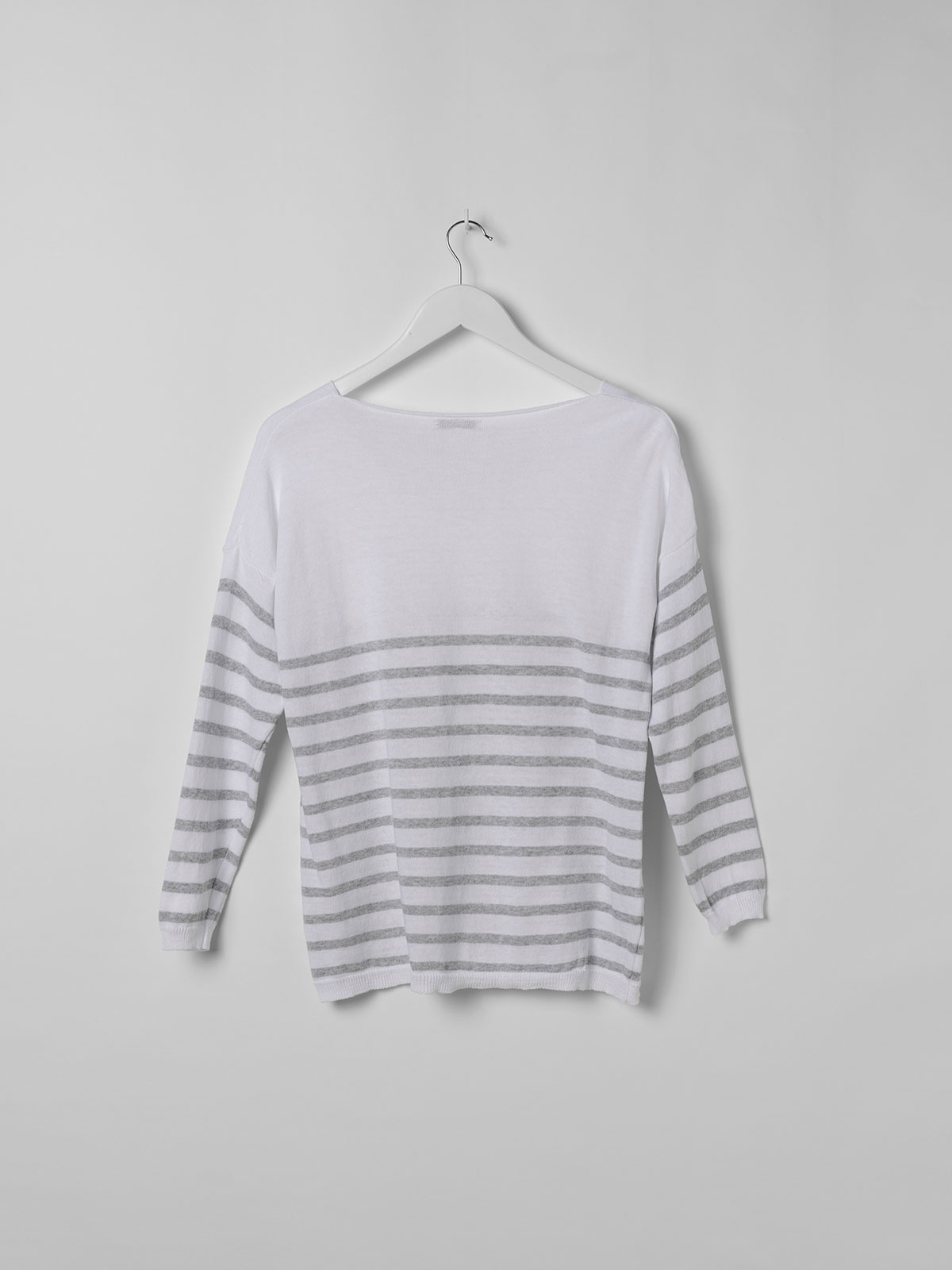 Woman Lightweight knit sweater with striped hem Grey