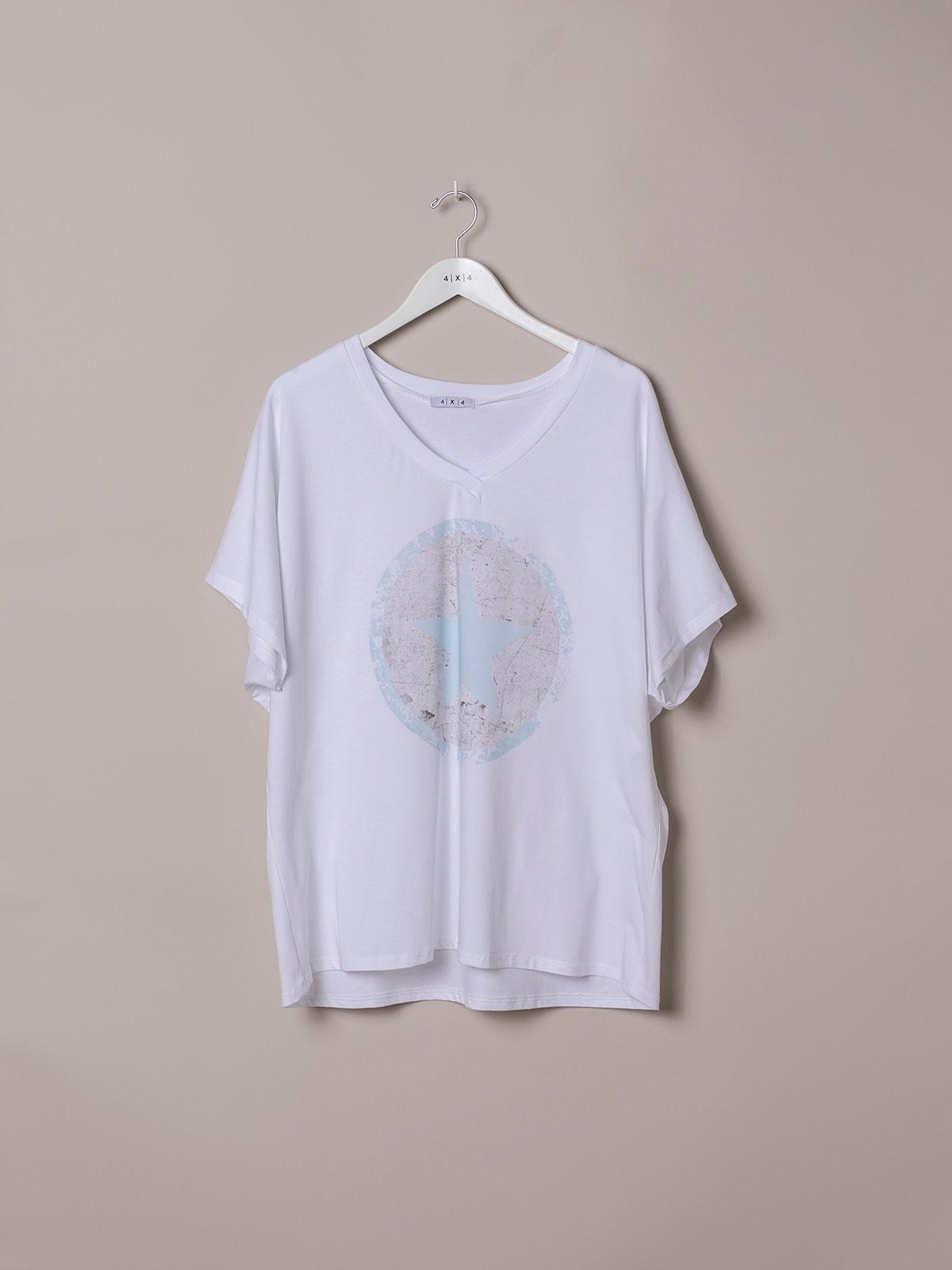 Woman Oversized organic cotton star T-shirt Blue