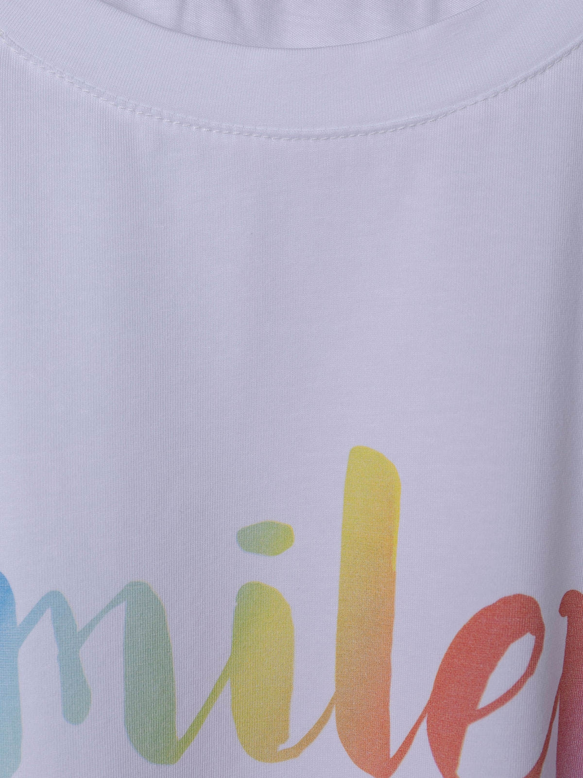 Woman Organic cotton smiley message T-shirt White