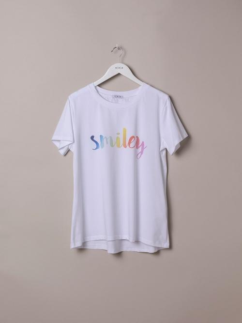 Camiseta mujer algodón orgánico mensaje smiley Blanco