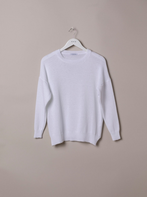 Woman Cotton knit sweater White