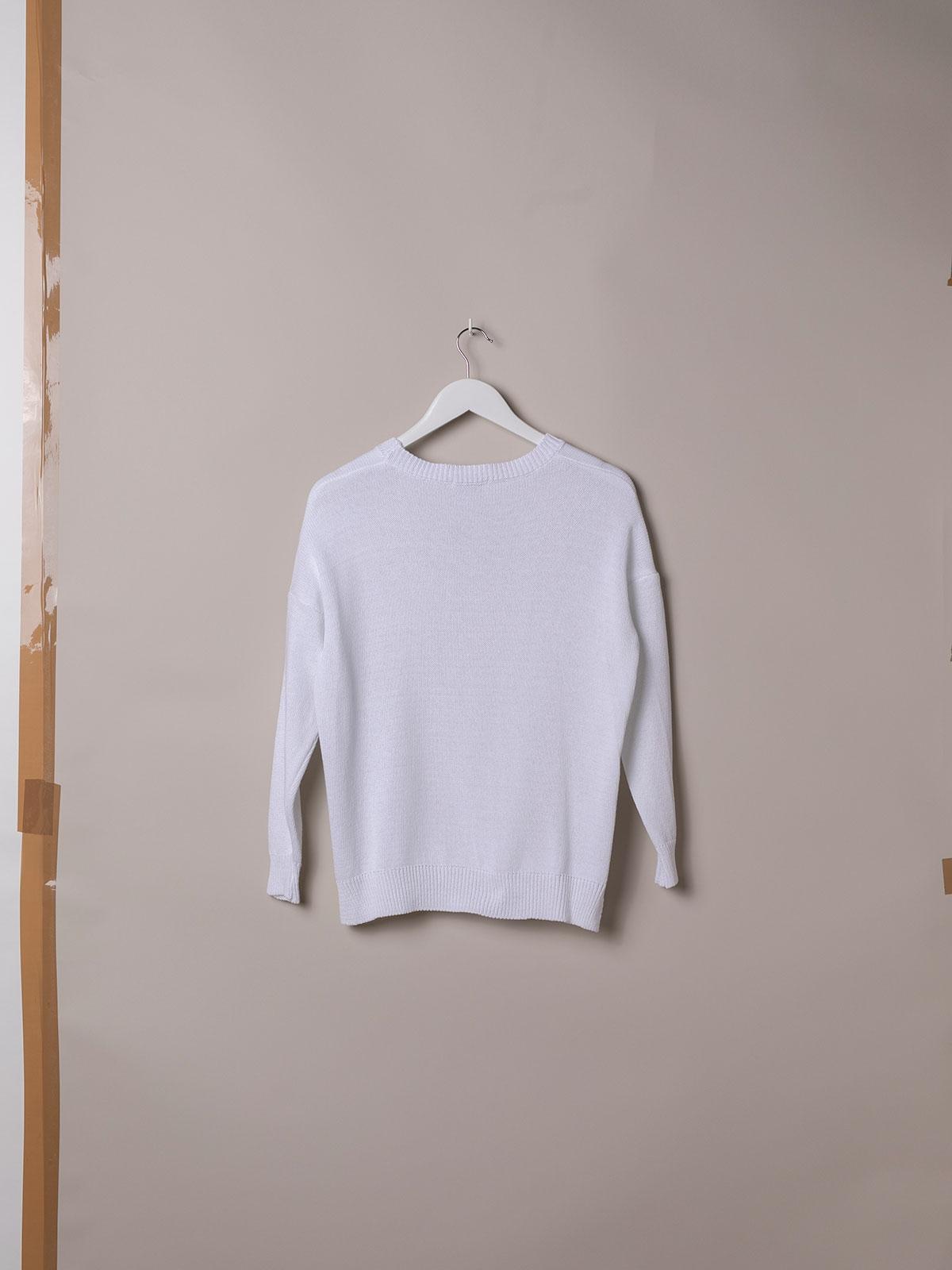 Woman Cotton knit sweater White