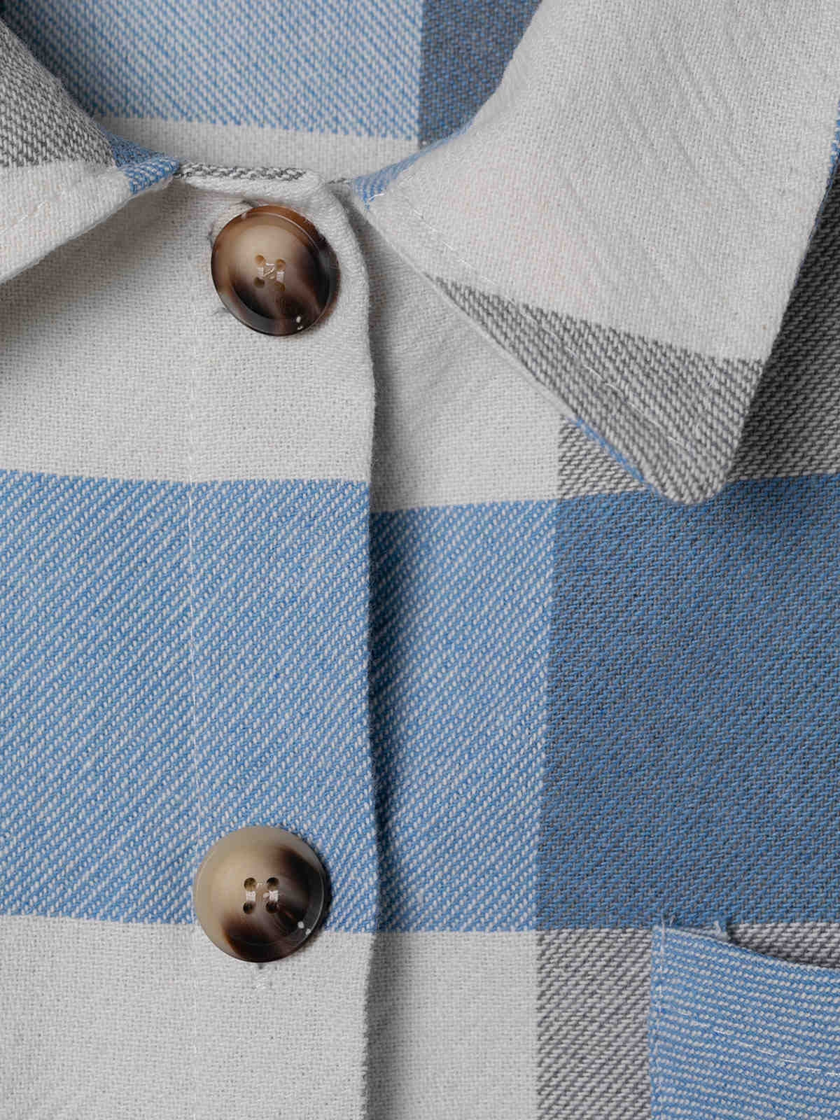 Woman Checked shirt with 2 pockets Blue