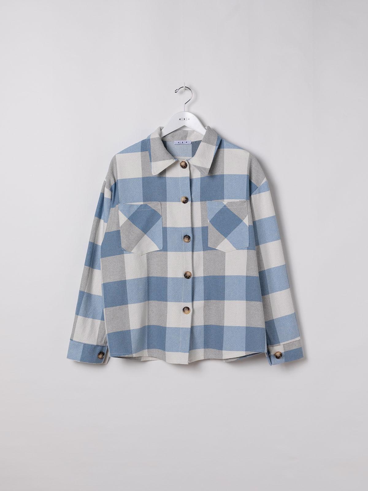 Camisa mujer cuadros 2 bolsillos algodón 100% Azul
