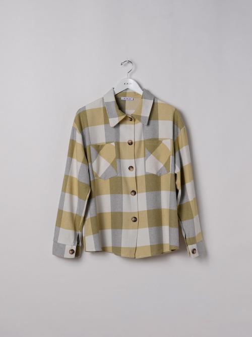 Woman Checked shirt with 2 pockets Amarillo