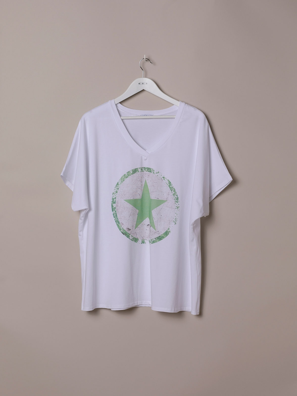 Woman Oversized organic cotton star T-shirt Green