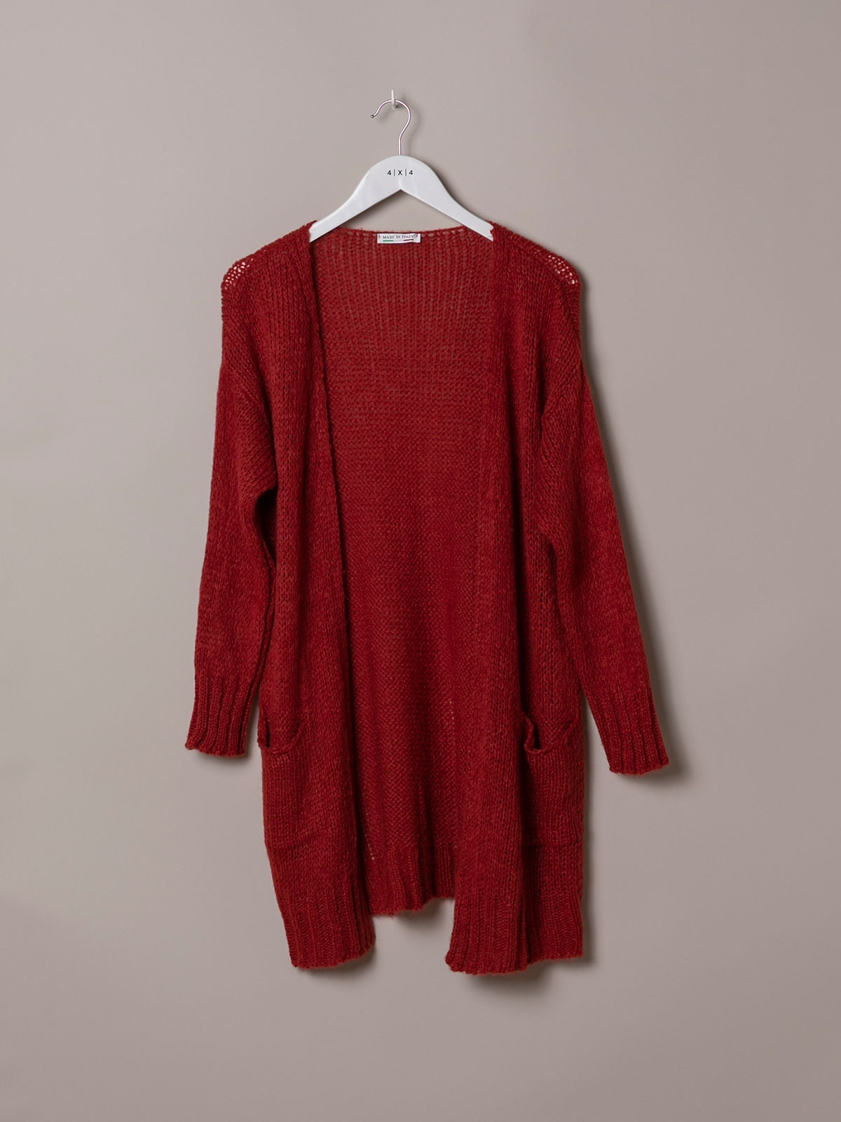 Woman Knitted jacket with valance pockets Red