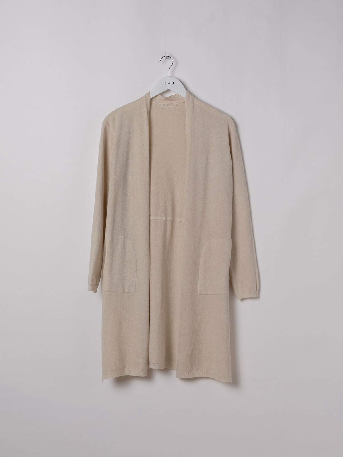 Woman Long cardigan with pockets Beige