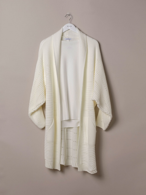 Woman Long cardigan with pockets White