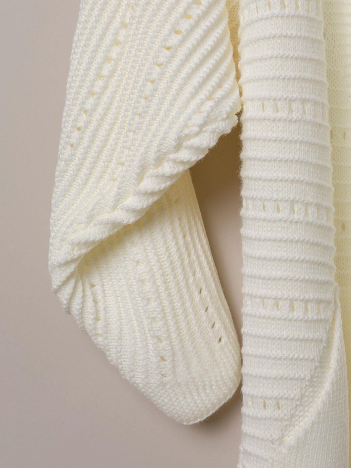 Chaqueta mujer de punto larga con bolsillos Blanco