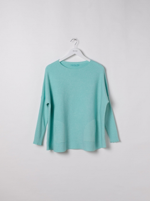 Woman Soft knit sweater Aqua