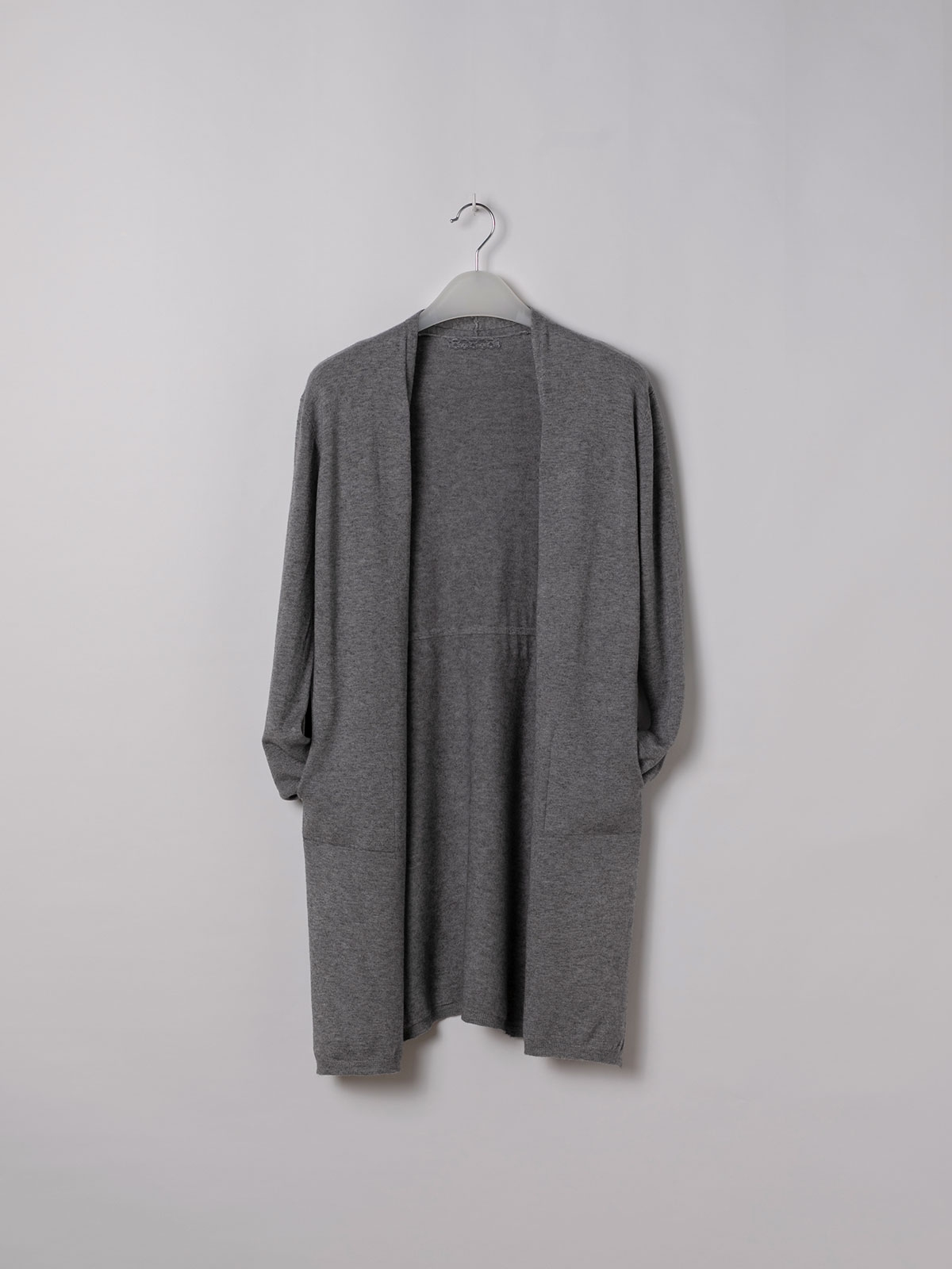 Woman Long cardigan with pockets Grey