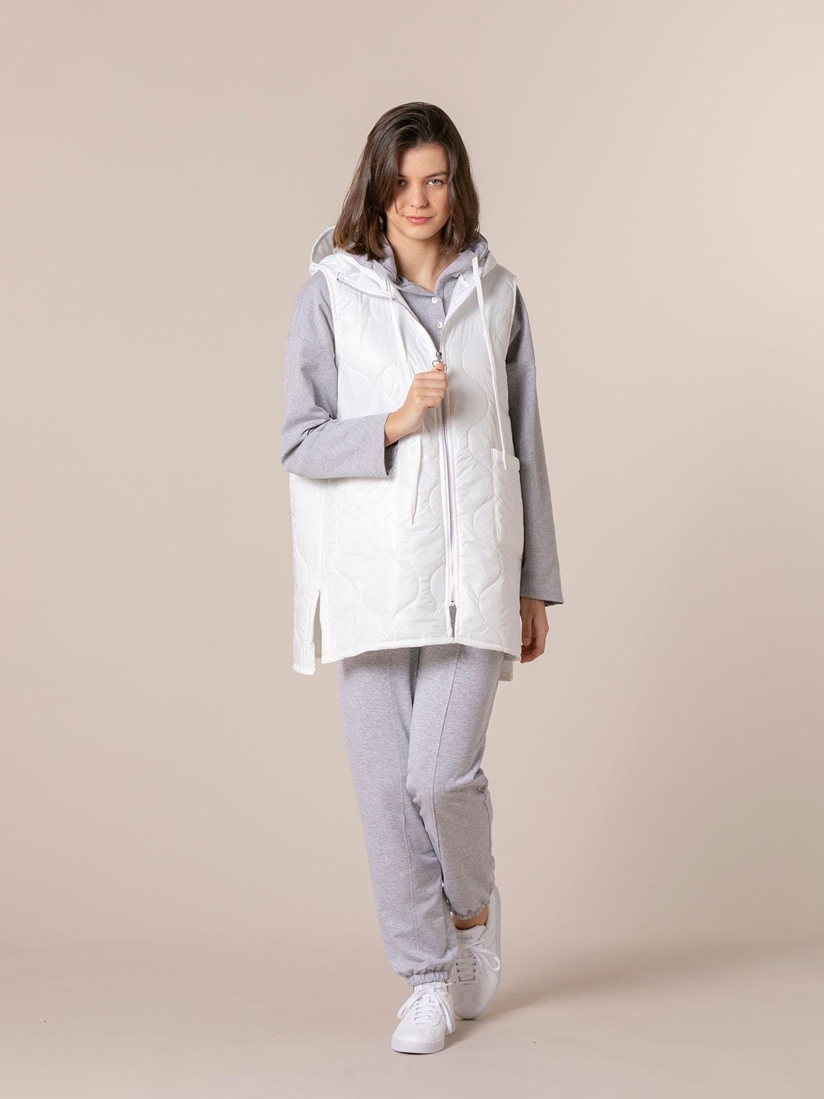 Woman Long padded gilet White