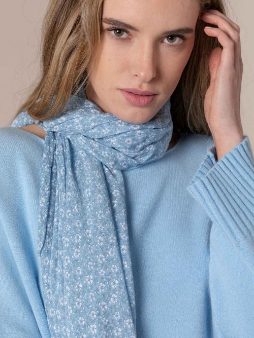 Woman Monochromatic flower cotton scarf Blue Celeste