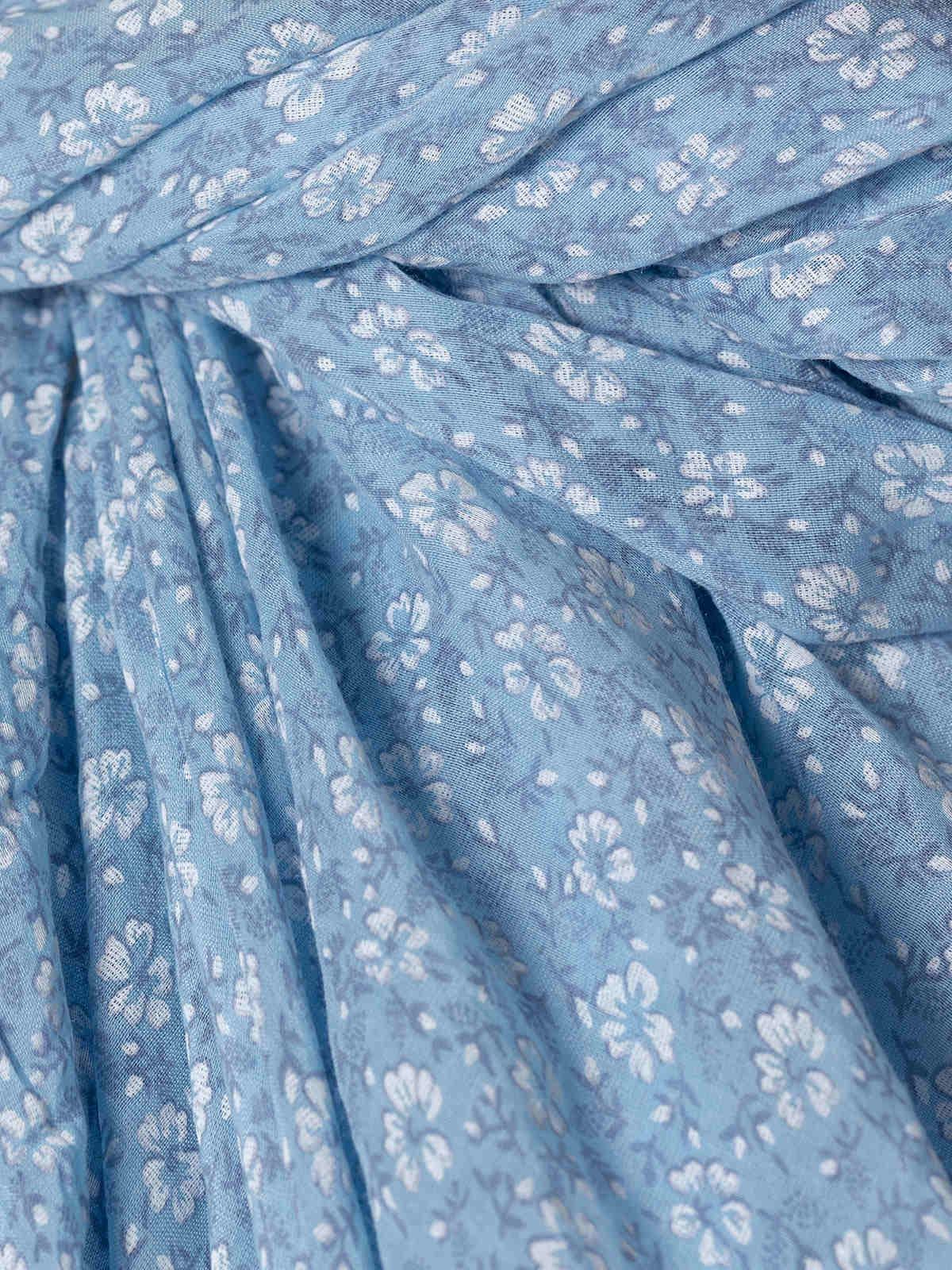 Fular mujer algodón flor monocromático Azul Celeste