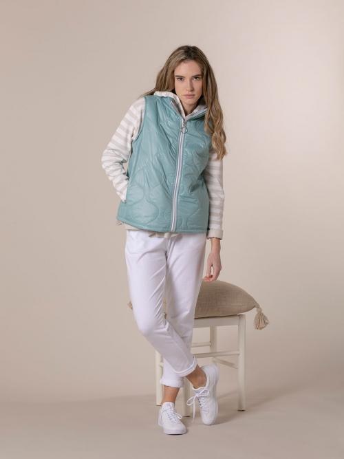 Woman Short padded vest Aqua