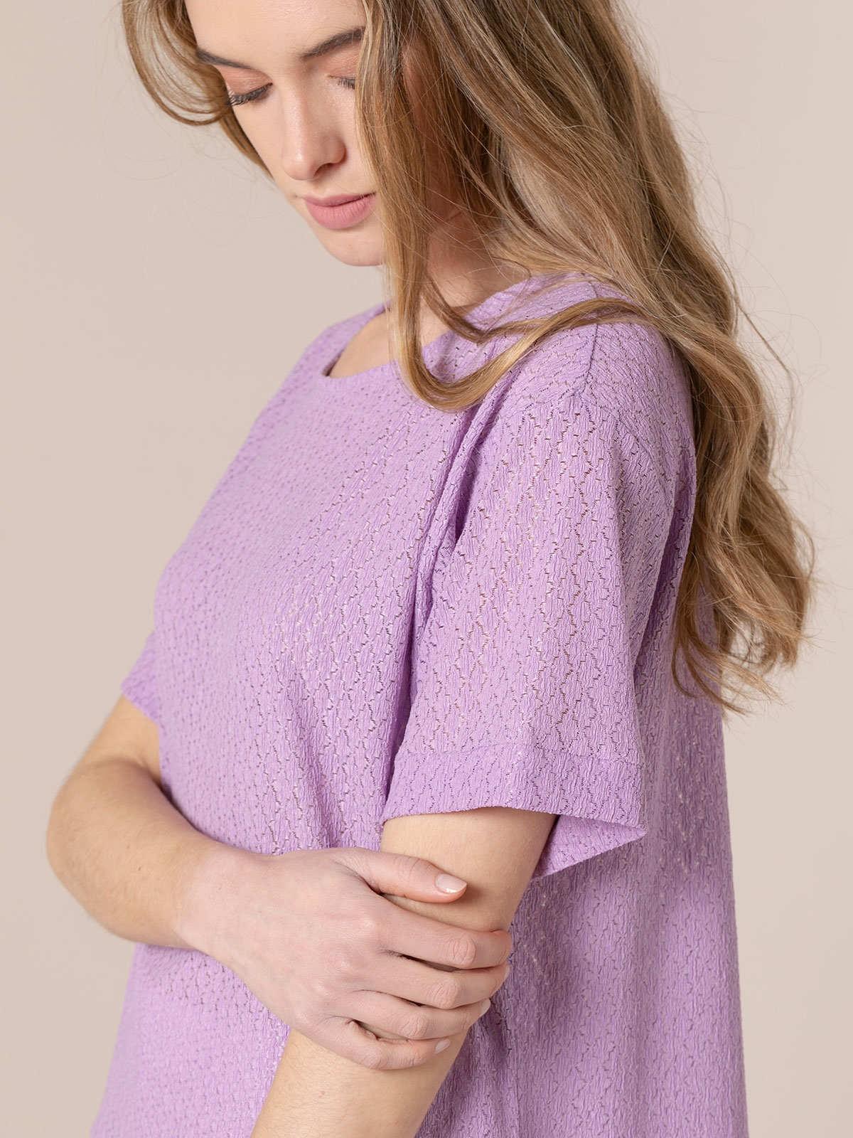 Camiseta mujer elástica macramé Malva