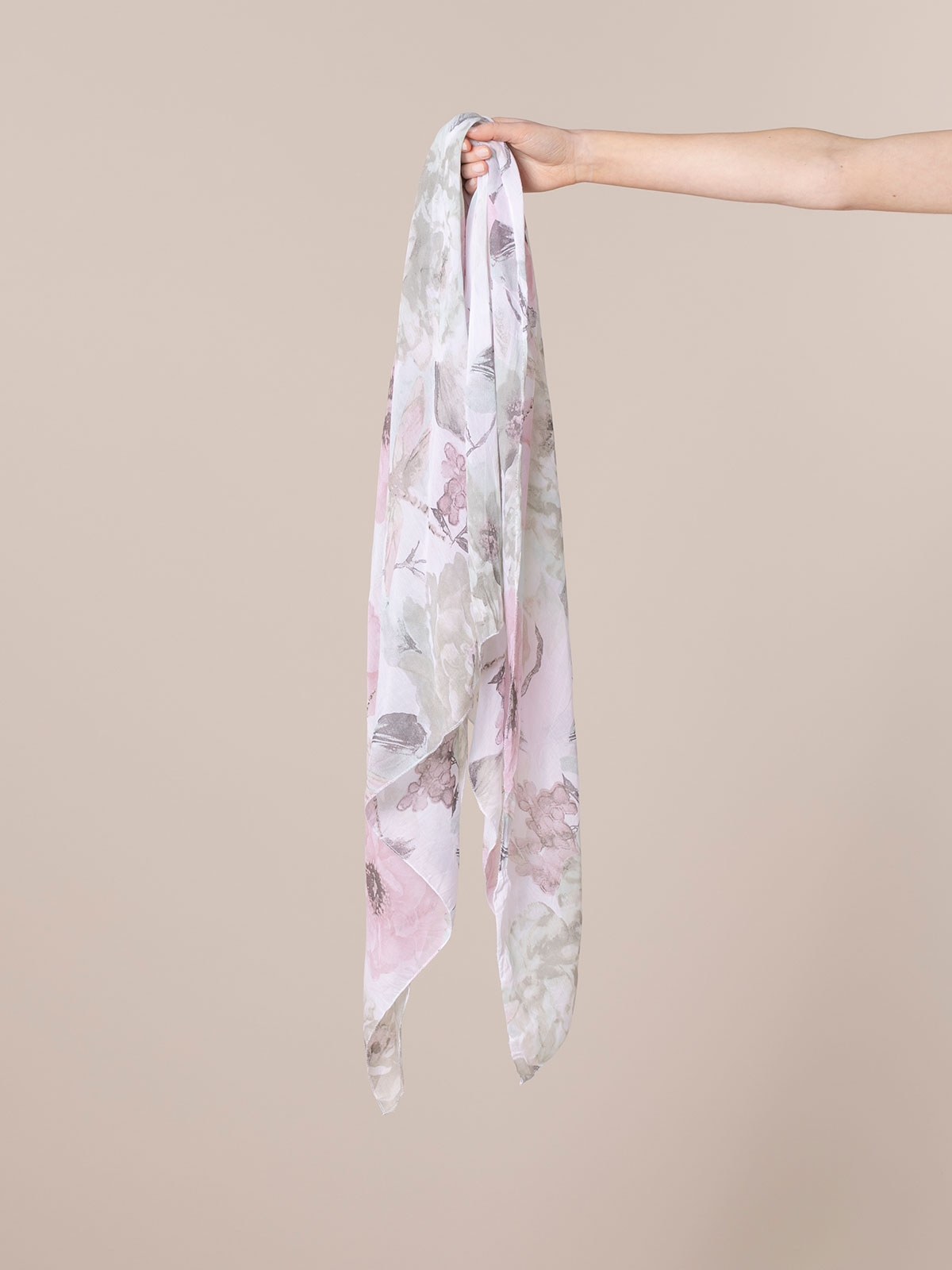 Woman Faded flower print scarf Khaki