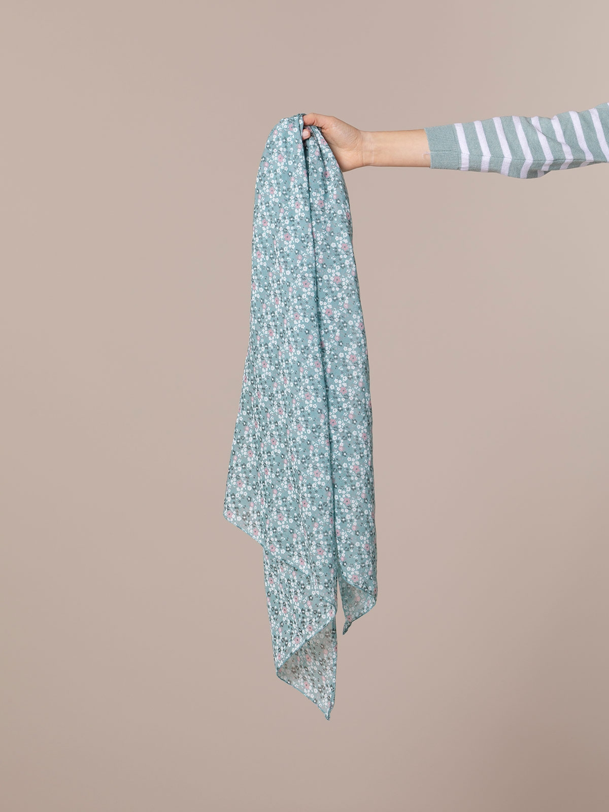 Woman Little flower cotton scarf Aqua