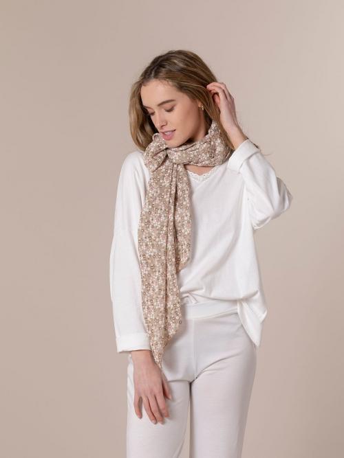 Woman Little flower cotton scarf Beige