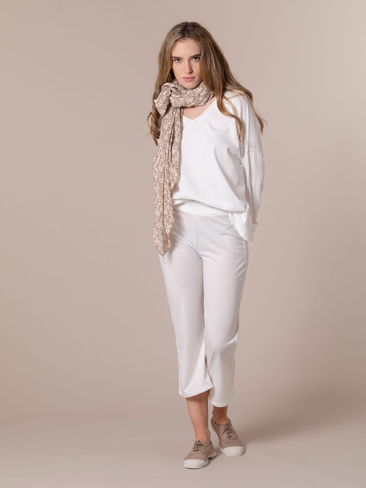 Fular mujer algodón florecita Beige