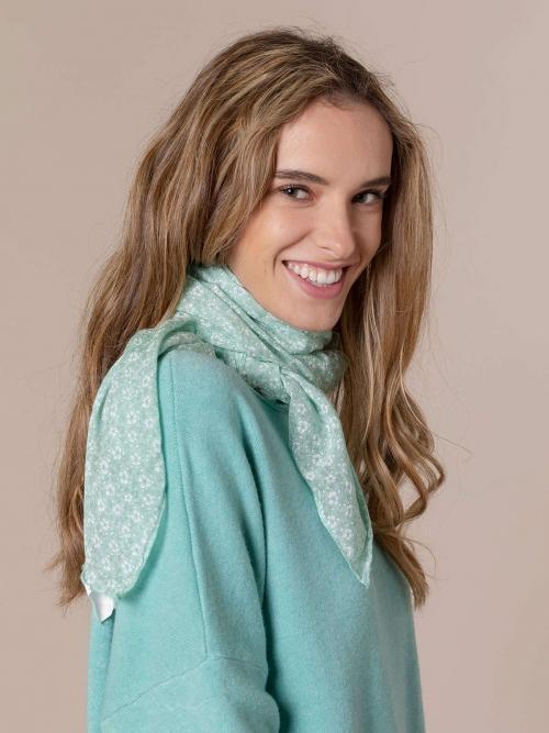 Woman Monochromatic flower cotton scarf Aqua