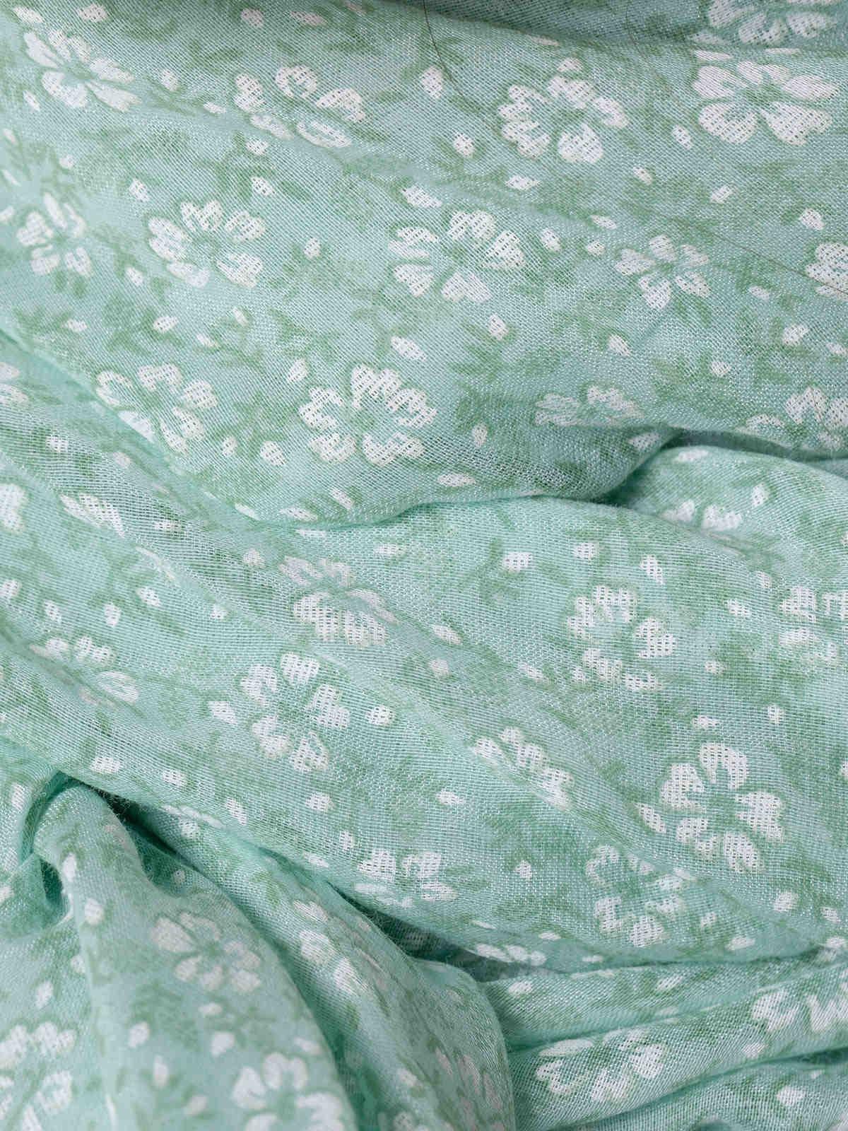 Fular mujer algodón flor monocromático Aqua
