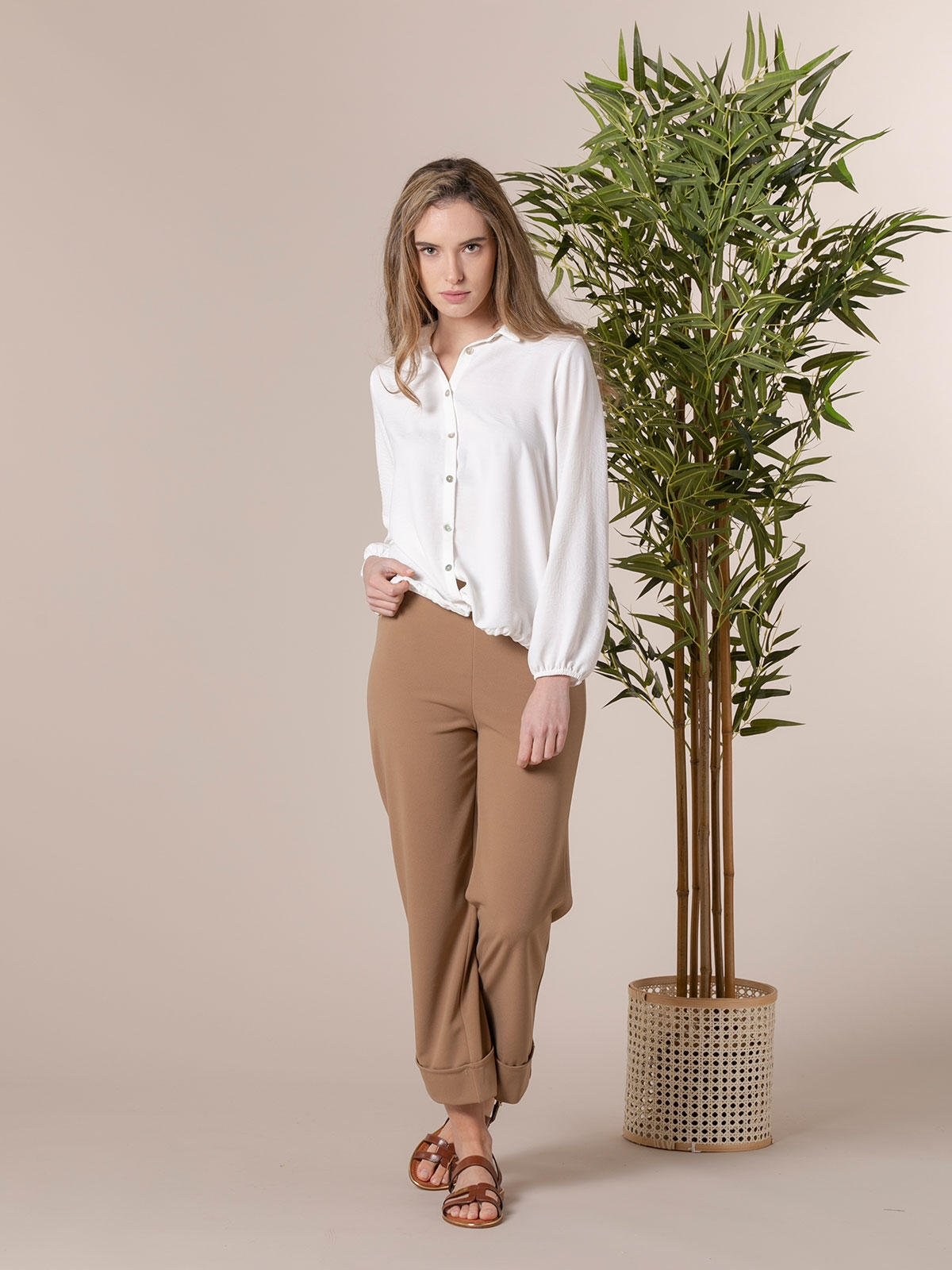 Woman High-rise culotte trousers Camel
