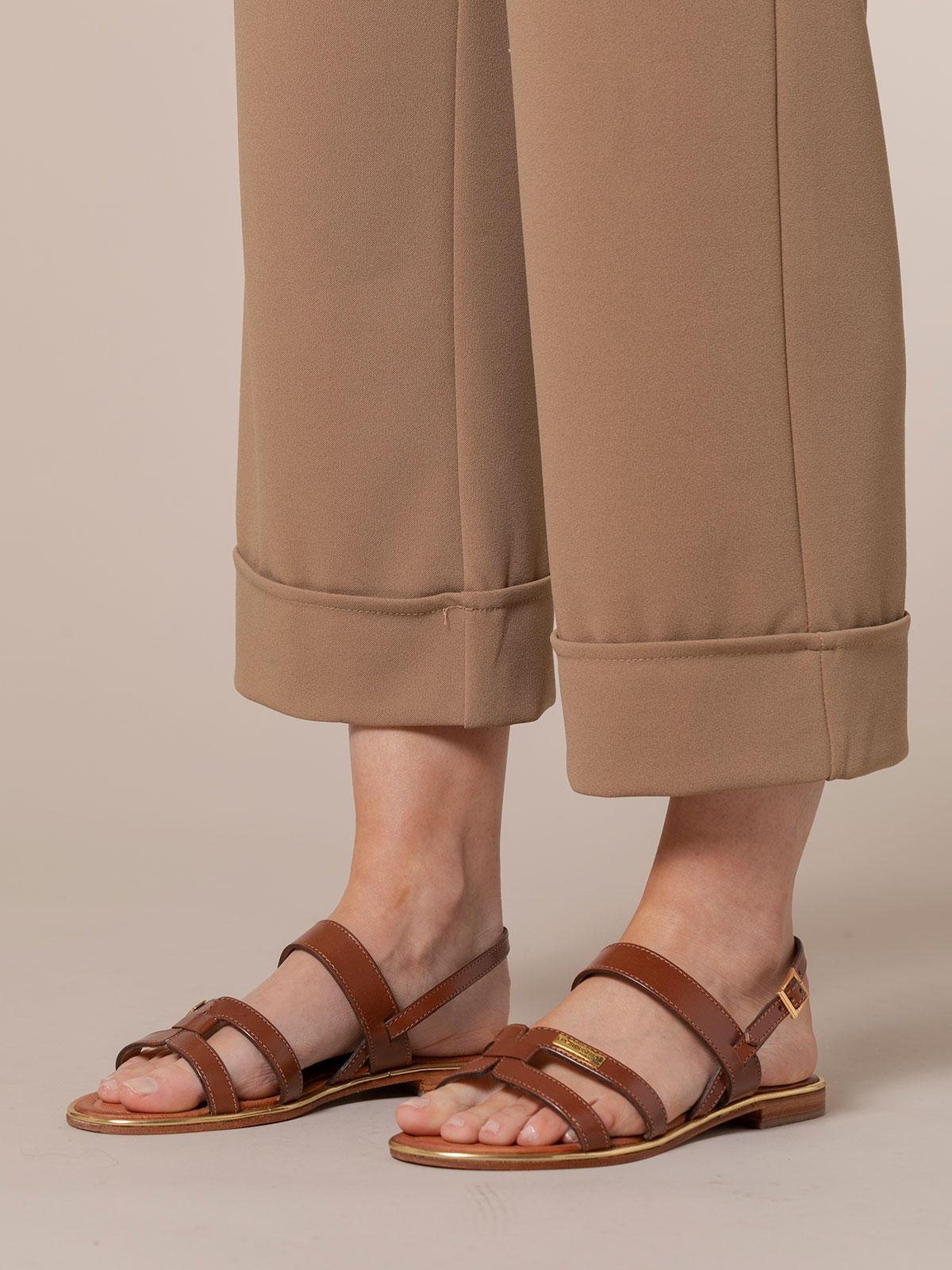 Pantalón mujer culotte tiro alto Camel