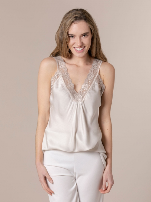 Woman Gathered lingerie top Beige